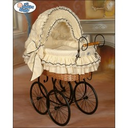 Wicker Crib Vintage Retro - Cream-Black