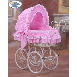 Wicker Crib Moses basket Vintage Retro - Pink-White