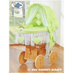 Wicker Crib Moses basket Hearts - Green
