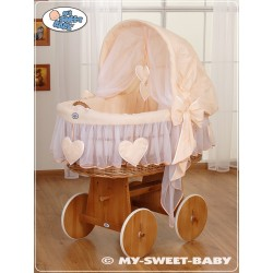 Wicker Crib Moses basket Hearts - Peach