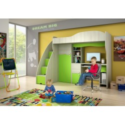 Loft bed with desk and wardrobe Green Fairytale 190x80 cm