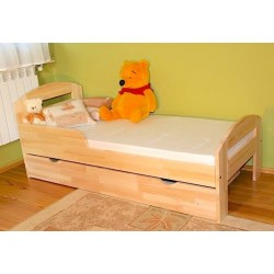 Pine wood junior bed Timmy with drawer 160x80 cm