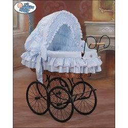 Wicker Crib Moses basket Vintage Retro - Blue-Black