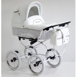 Wicker Leather classic pram 3 in 1 Scarlett white