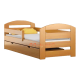 Pine wood junior bed Kam3 with drawer 160x70 cm