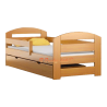 Pine wood junior bed Kam3 with drawer 160x80 cm