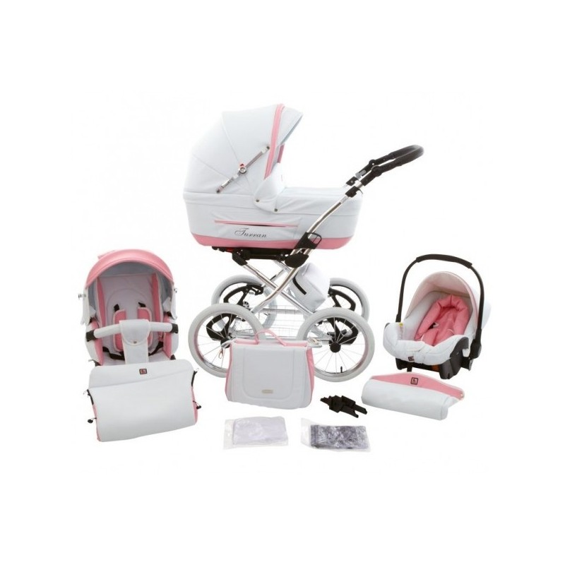 Classic Pram Turran Eco White Pink Leather 3 In 1 Travel