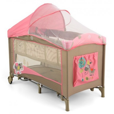 Travel cot pink cow