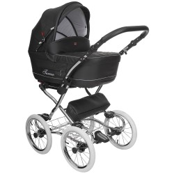 Classic pram Turran Eco Black Leather 3 in 1 travel system