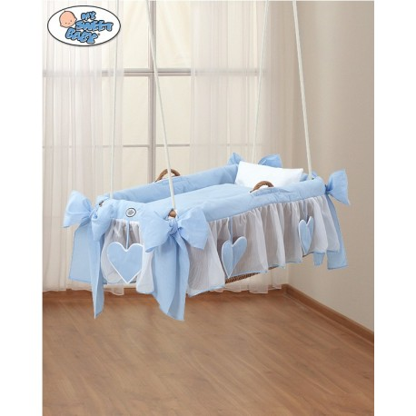 Hanging wicker baby crib Blue Hearts