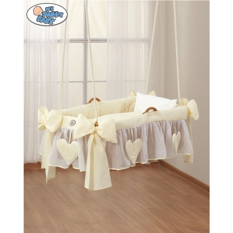 Hanging wicker baby crib Cream Hearts