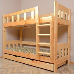 Solid pine wood bunk bed Inez with mattresses and drawer 160x80 cm