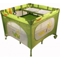 Playpen and travel cot twin doubles square 2 in 1 green