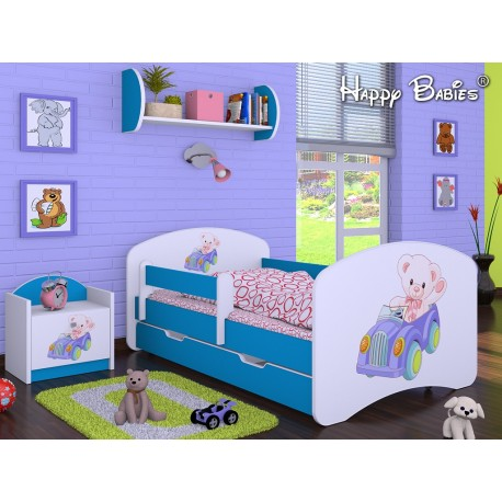 Toddler junior bed Happy Blue Collection with drawer and mattress 140x70 cm