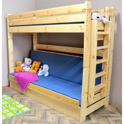 Solid pine wood bunk bed Carlos with mattresses 180x80 and 180x110 cm