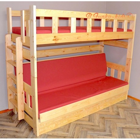 Solid pine wood bunk bed Fabio with mattresses 200x90 and 200x120 cm