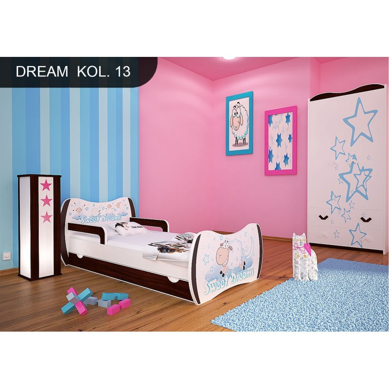 Toddler Junior Bed Walnut Dreams Collection With Drawer