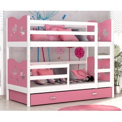 Bunk bed 180x80 cm Train Butterflies Hearts