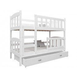Solid pine wood bunk bed Bambi with mattresses and drawers 160x70 cm