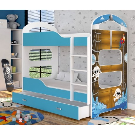 Bunk bed with mattresses Dominique Pirates