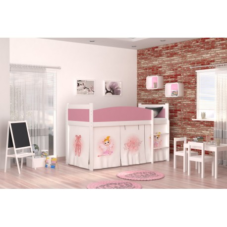 Loft bed mid sleeper Ballet with mattress