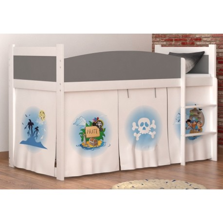 Loft bed mid sleeper Pirates 2 with mattress and curtains