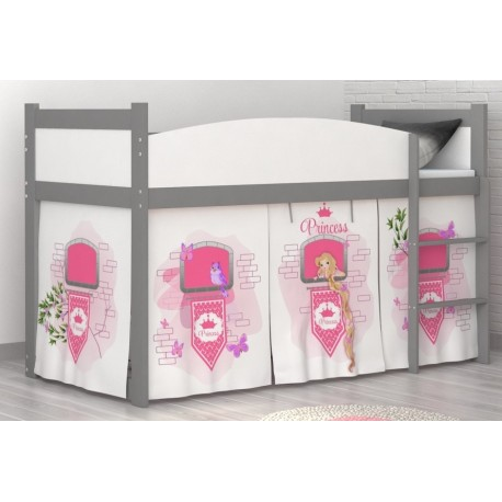 Loft bed mid sleeper Princess Tower with mattress and curtains