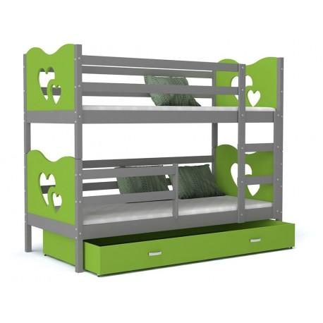 Solid pine wood bunk bed 180x80 cm Train Butterflies Hearts