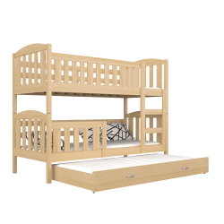 Solid pine wood roll-out bunk bed Jacob for 3 persons 160x80 cm