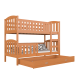 Solid pine wood bunk bed Jacob 2 with drawer 190x80 cm