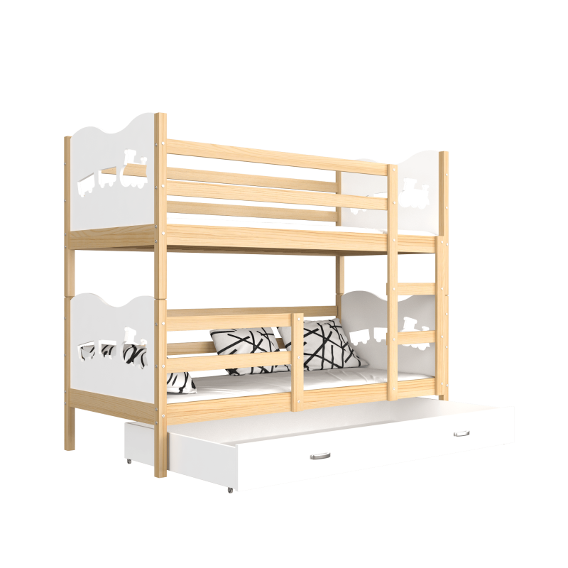 Solid Pine Wood Bunk Bed 190x80 Cm Train Butterflies Hearts Bunk Be