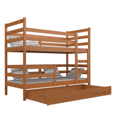 Solid pine wood bunk bed Jack with drawer 190x80 cm