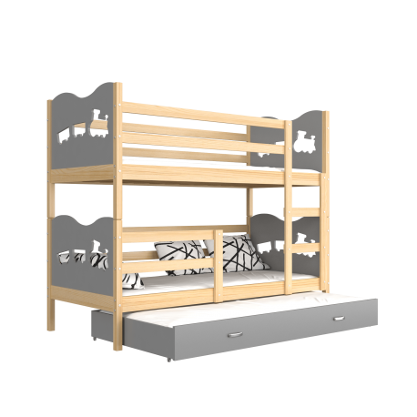 Solid pine wood roll-out bunk bed for 3 person 190x80 cm Train Butterflies Hearts