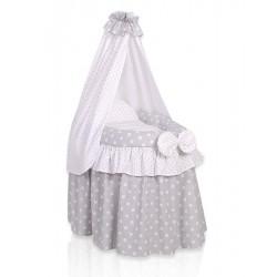 Wicker doll crib grey