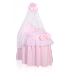 Wicker doll crib Little Princess pink