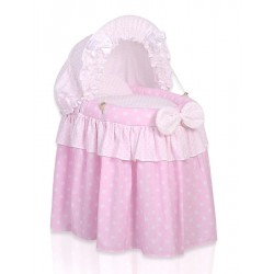Wicker doll crib pink