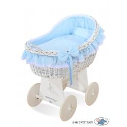 Wicker crib cradle moses basket Carine - Blue-white