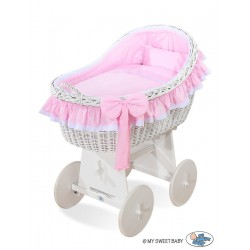 Wicker crib cradle moses basket Carine - Pink-white