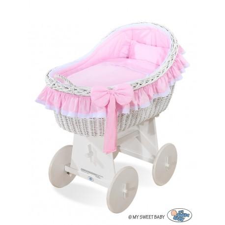 Wicker crib cradle moses basket Carine - Pink-white