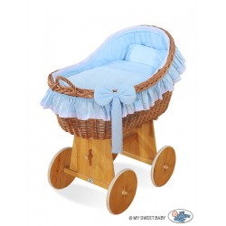 Wicker crib cradle moses basket Carine - Blue
