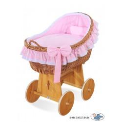 Wicker crib cradle moses basket Carine - Pink
