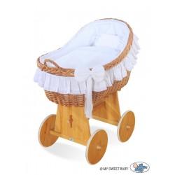 Wicker crib cradle moses basket Carine - White