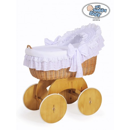 Wicker crib cradle moses basket Lily - White