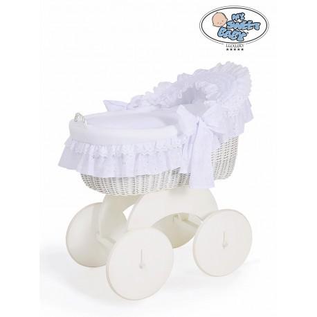 Wicker crib cradle moses basket Charlotte - White