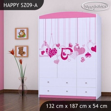 Wardrobe Happy Collection with drawers shelves and bar