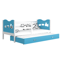 Trundle roll-out bed 200x90 cm Train Butterflies Hearts