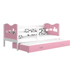 Trundle roll-out bed 190x80 cm Train Butterflies Hearts