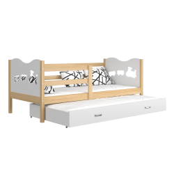 Trundle roll-out solid wood bed 190x80 cm Train Butterflies Hearts