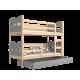 Solid pine wood bunk bed 200x90 cm
