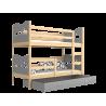Solid pine wood bunk bed 200x90 cm Train Butterflies Hearts